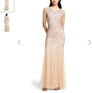 Adrianna Papell Beaded Cap Sleeve Mermaid Gown